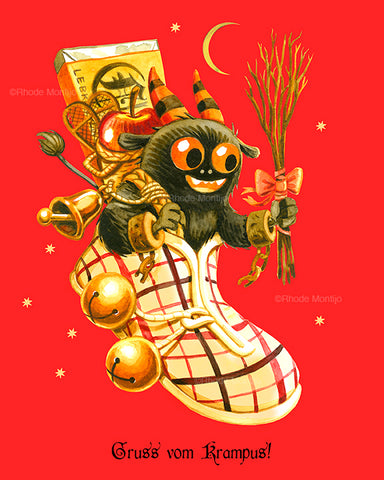 ".8x10 NEW PRINT: ""Kid Krampus in Floating Boot"""