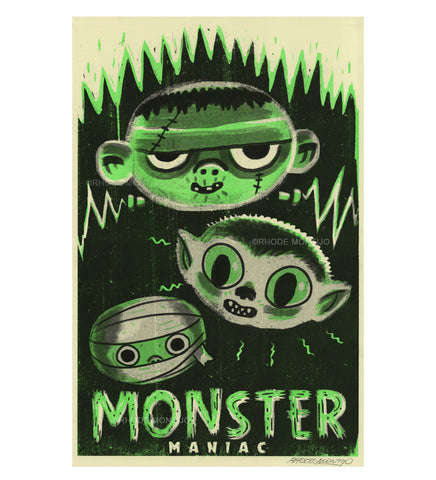.New! SDCC 2019 Signed Risograph Print: MONSTER MANIAC