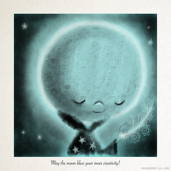 "8"" x 8"" Signed Print: MAY THE MOON BLESS YOUR INNER CREATIVITY"