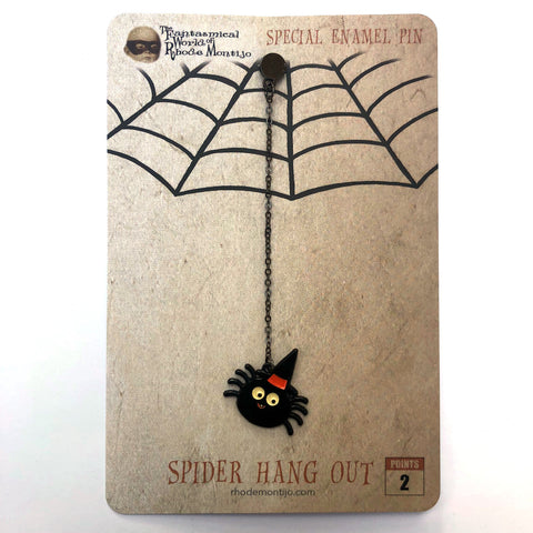 .New SPIDER HANG OUT Hanging Enamel Pin