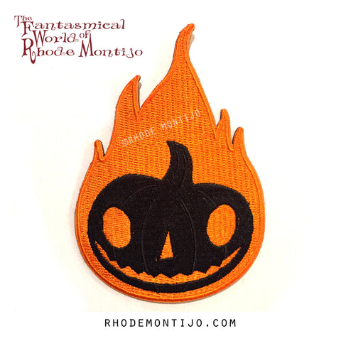 Embroidered patch: Jack-O-Lantern Flame- REDUCED SHIPPING FOR PATCH ONLY ORDER