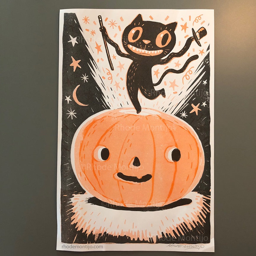 .New Risograph Print: BLACK CAT JACK