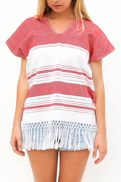 V-Neck Top - White/Red