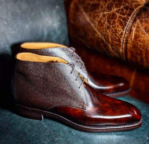 BESPOKESTORES Ankle Boots Alligator Burgundy Chukka Boots, Ankle High Leather Lace Up Boots