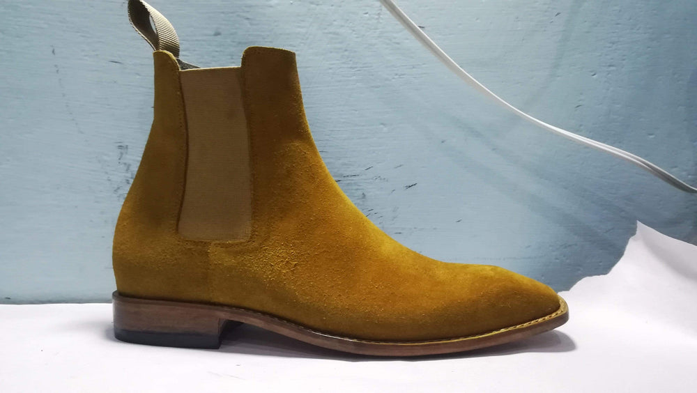 BESPOKESTORES Ankle Boots Beautiful Ankle High Tan Chelsea Leather Suede Boot For Men