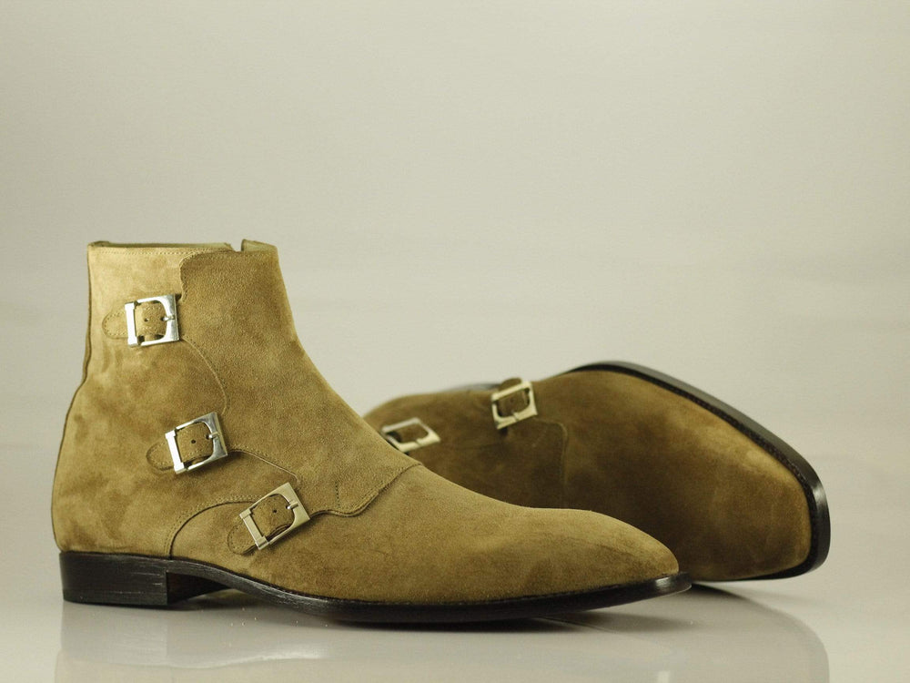 BESPOKESTORES Ankle Boots Bespoke Ankle High Beige Three Monk Strap Suede Boots
