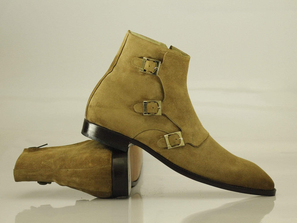 Bespoke Ankle High Beige Three Monk Strap Suede Boots