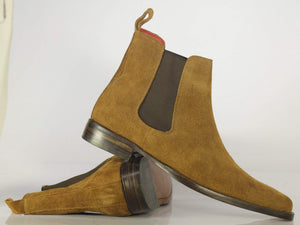 Bespoke Ankle High Tan Chelsea Suede Boots, Dress Slip On Boots