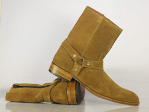 Bespoke Ankle High Tan Madrid Strap Zipper Suede Boots