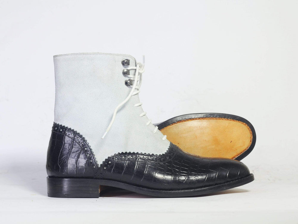 BESPOKESTORES Ankle Boots Bespoke Black alligator Ankle Boots For Men's