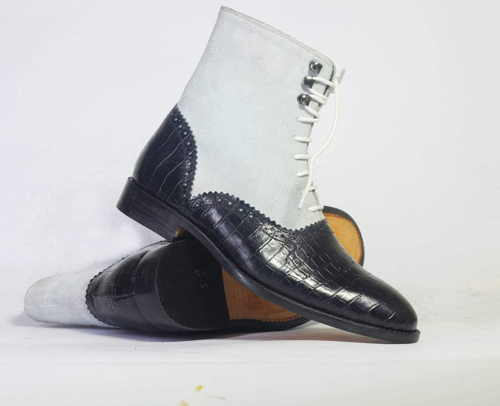 Bespoke Black alligator Ankle Boots For Men's