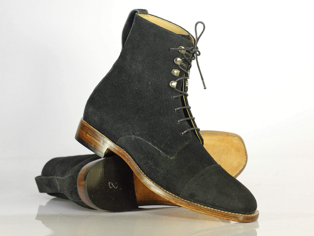 Bespoke Black Cap Toe Ankle High Suede boot For Men's