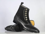 Bespoke Black Cap Toe Button Top Leather & Suede Boots For Men's