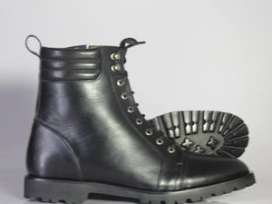 BESPOKESTORES Ankle Boots Bespoke Black Leather Lace Up Boots For Men's