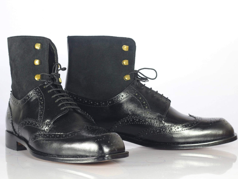 BESPOKESTORES Ankle Boots Bespoke Black Wing Tip Brogue Ankle Boots For Men's