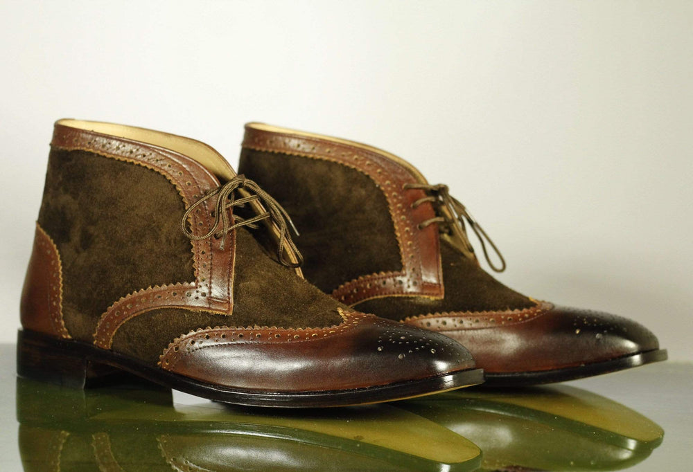 Bespoke Brown Ankle High Boots, Men's Wing Tip Brogue Leather & Suede Chukka Boots