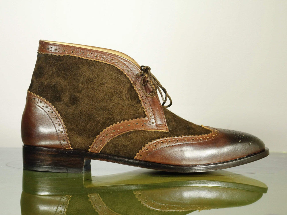 BESPOKESTORES Ankle Boots Bespoke Brown Ankle High Boots, Men's Wing Tip Brogue Leather & Suede Chukka Boots