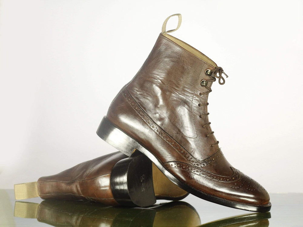 Bespoke Brown Ankle High Leather Lace Up Boots For Men's