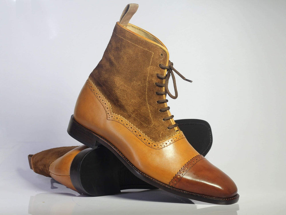 Bespoke Brown Cap Toe Ankle Leather & Suede Boots