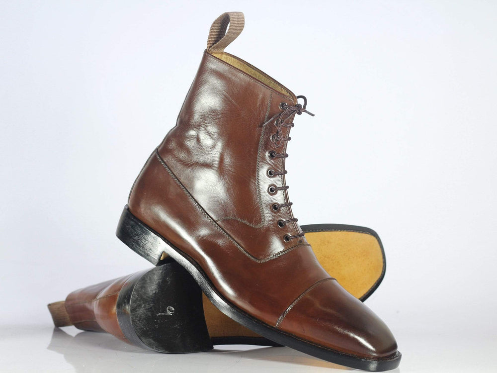 BESPOKESTORES Ankle Boots Bespoke Brown Cap Toe Leather Ankle Boots for Men's