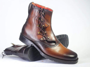 BESPOKESTORES Ankle Boots Bespoke Brown Side Zipper Ankle Leather Boots For Men's