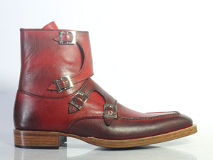BESPOKESTORES Ankle Boots Bespoke Burgundy Quad Monk Round Toe Long Boots For Men's