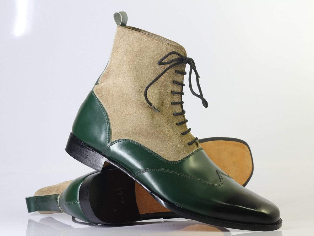 Bespoke Green & Tan Wing Tip Leather Boots For Men's
