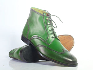 BESPOKESTORES Ankle Boots Bespoke Green Wing Tip Brogue Ankle Boots For Men's