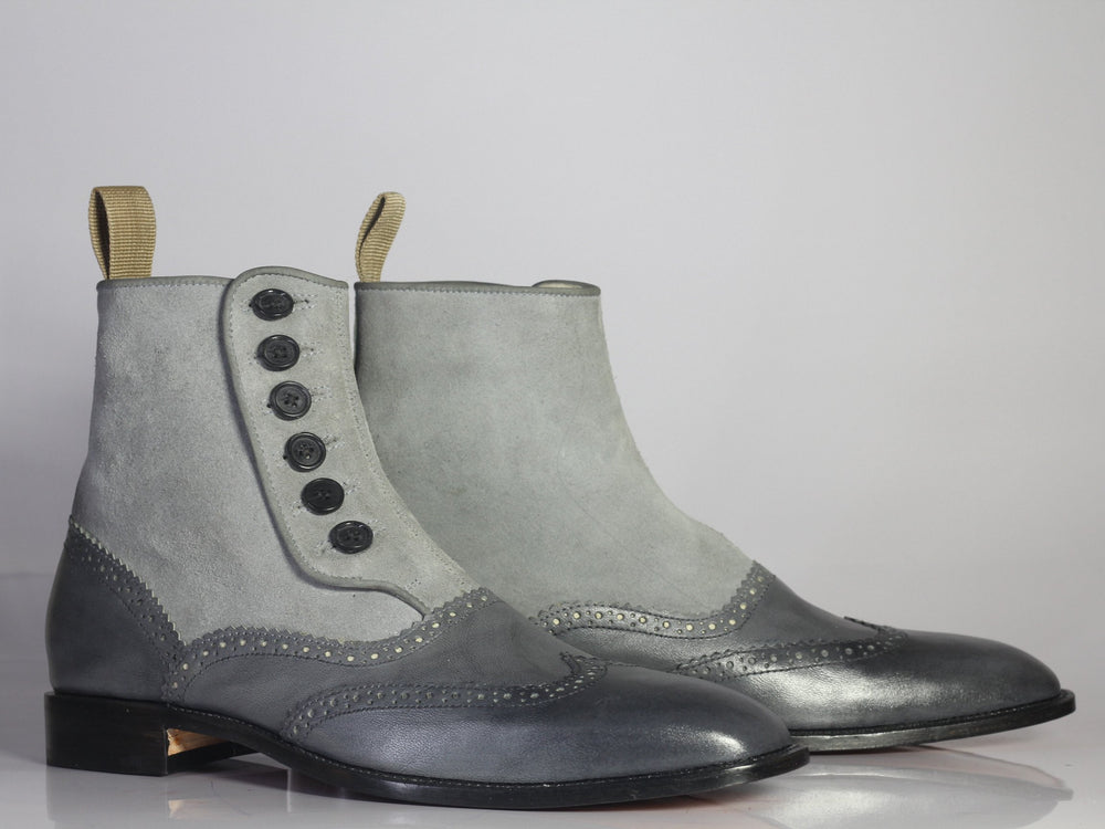 BESPOKESTORES Ankle Boots Bespoke Grey Wing Tip Button Top Leather & Suede Boots For Men's