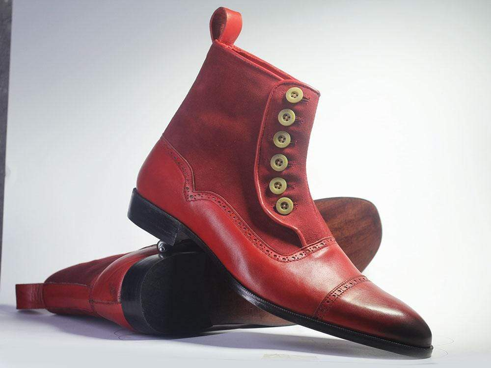 Bespoke Burgundy Cap Toe Button Top Leather & Suede Boots For Men's