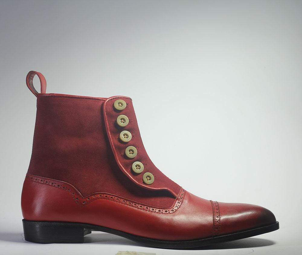 BESPOKESTORES Ankle Boots Bespoke Maroon Cap Toe Button Top Leather & Suede Boots For Men's