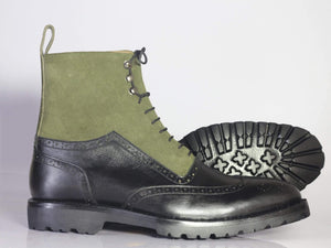 BESPOKESTORES Ankle Boots Bespoke Men's Black & Olive Green Wing Tip Brogue Boots, Ankle High Leather & Suede Boots