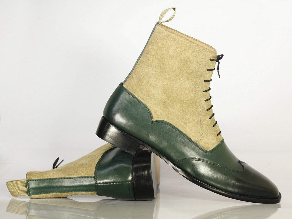 Bespoke Men's Green & Beige Wing Tip Leather Suede Boots
