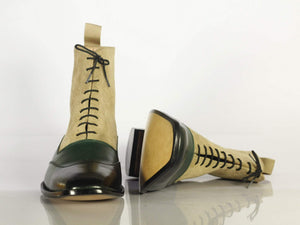 BESPOKESTORES Ankle boots Bespoke Men's Green & Beige Wing Tip Leather Suede Boots