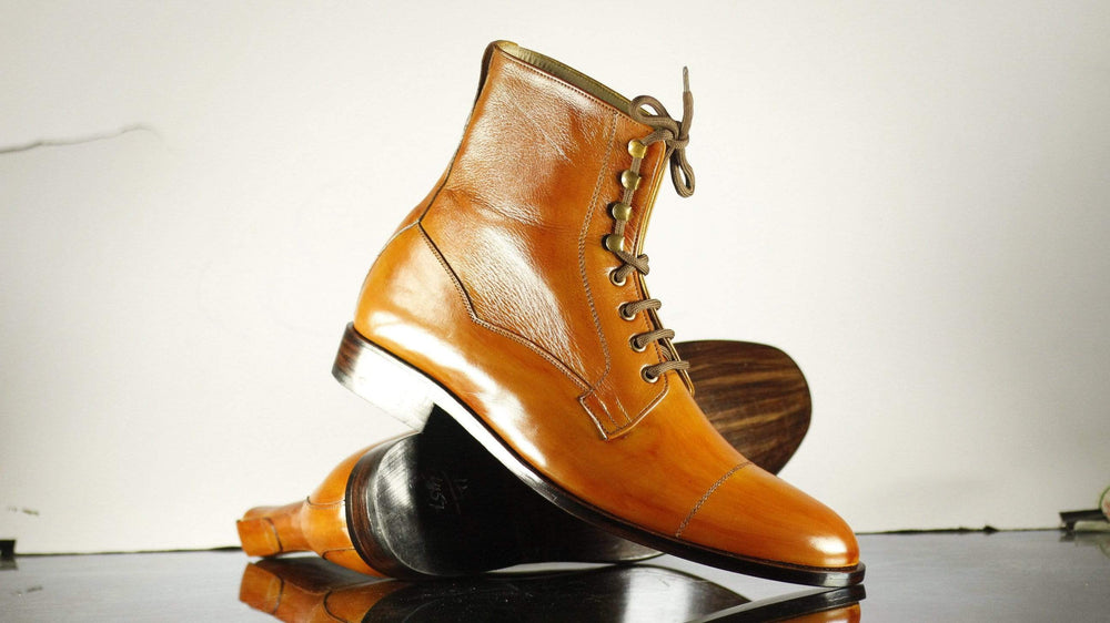 Bespoke Men's Tan Boots, Cap Toe Ankle High Leather Lace Up Boots