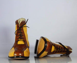 BESPOKESTORES Ankle Boots Bespoke Men's Yellow & Brown Brogue Boots, Ankle High Leather Lace Up Boots