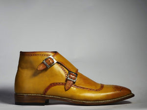 BESPOKESTORES Ankle Boots Bespoke Mustard Double Monk Brogue Toe Ankle Boots For Men's
