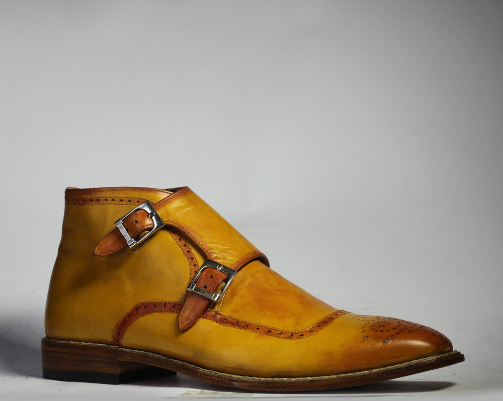 Bespoke Mustard Double Monk Brogue Toe Ankle Boots For Men's