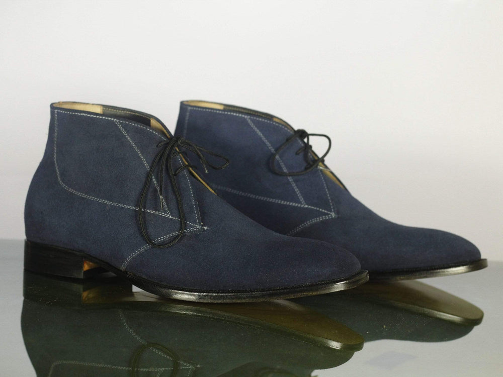 BESPOKESTORES Ankle Boots Bespoke Navy Blue Half Ankle Suede Lace Up boot For Men's