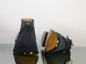 Handmade Boots Half Ankle Boots Navy Blue boots Men Boots Stylish boots Casual Boots Dress Boots Ankle boots handmade Boots out Fit boot Suede Boots  Casual Denim Boots Aldo Boots Slip On Leather Boot Lace Up boot