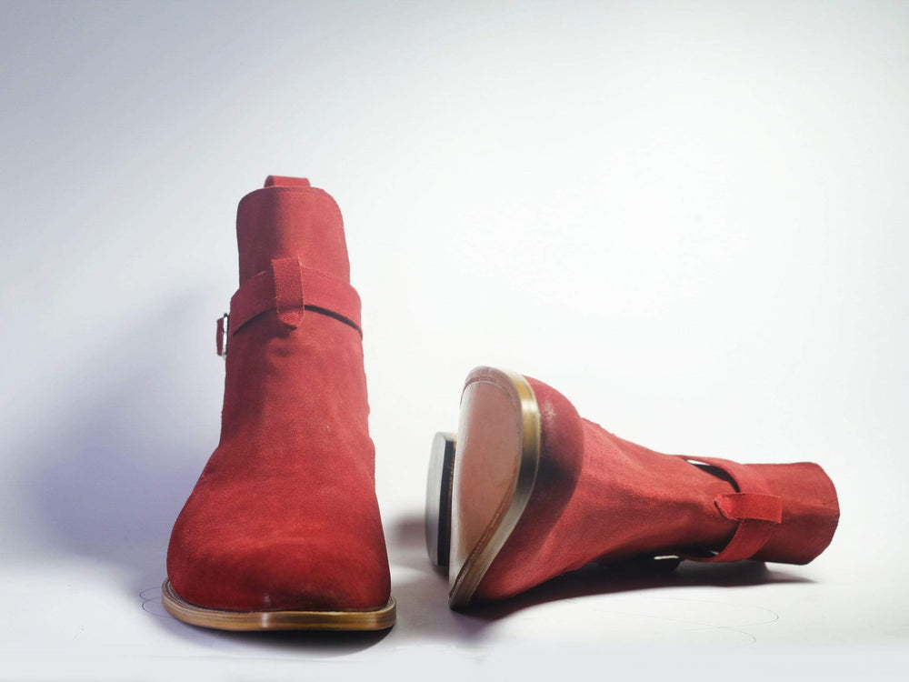 BESPOKESTORES Ankle Boots Bespoke Red Suede Handmade Jodhpurs For Men's