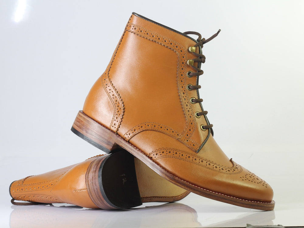 Bespoke Tan Wing Tip Brogue Leather Boots For Men's