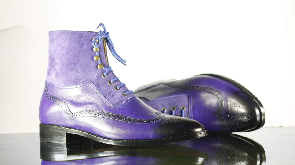 Bespoke Two Tone Purple Ankle High Boots, Men's Wing Tip Brogue Leather & Suede Boots