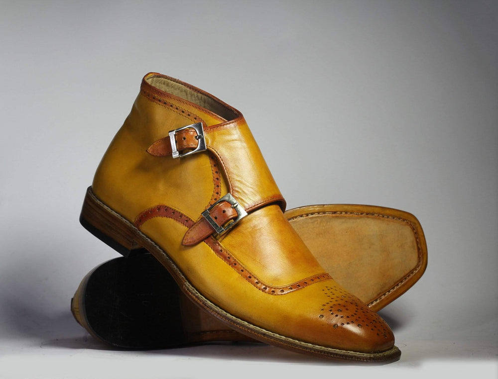 BESPOKESTORES Ankle Boots Bespoke Yellalligator Ankle Boots For Men's