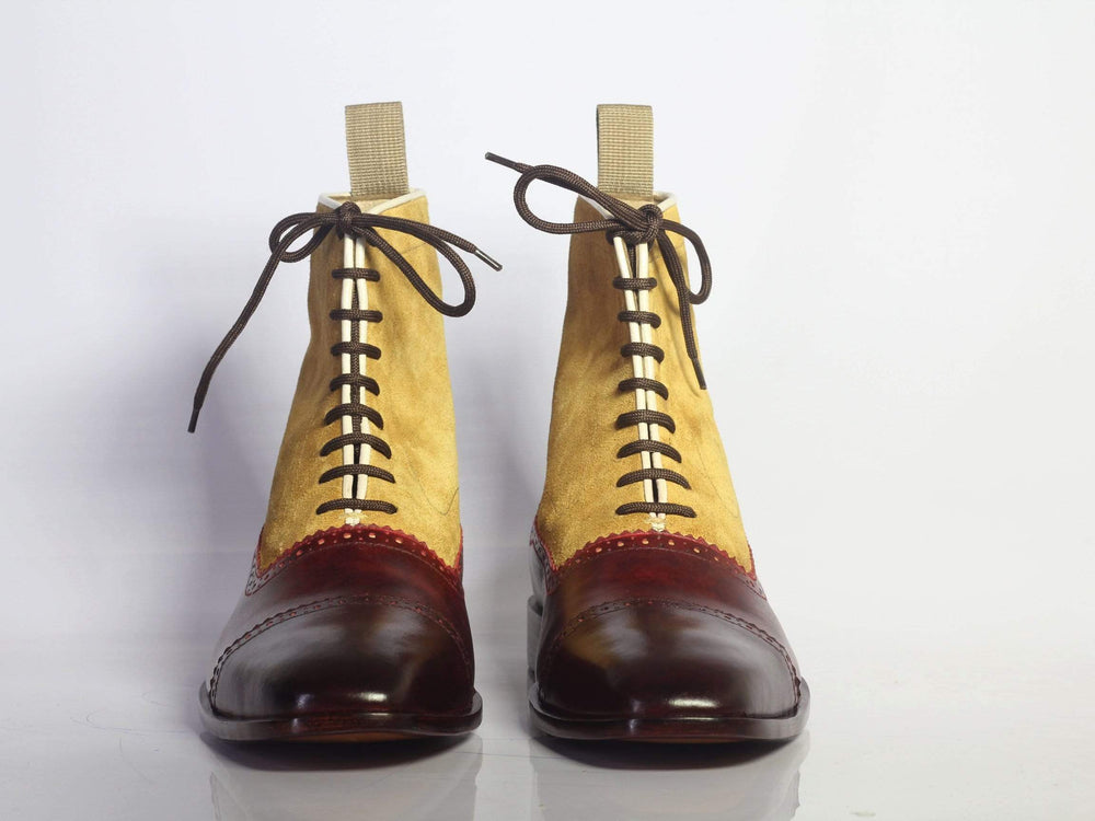 BESPOKESTORES Ankle Boots Bespoke Yellow & Burgundy Cap Toe Leather & Suede Boots For Men's