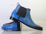 Blue Chelsea Ankle Boots For Men's