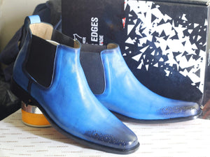 BESPOKESTORES Ankle boots Blue Chelsea Ankle Boots For Men's