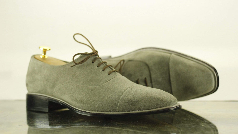 BESPOKESTORES Ankle Boots Cap Toe Olive Green Lace Up Leather Suede Men's Shoes