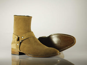 BESPOKESTORES Ankle Boots Copy of Bespoke Ankle High Tan Madrid Strap Zipper Suede Boots