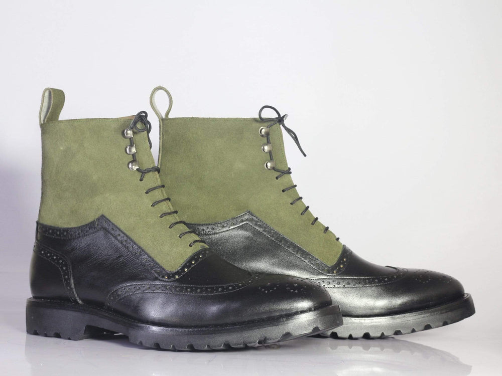 BESPOKESTORES Ankle Boots Copy of Bespoke Black & Blue Ankle High Leather Suede Boots For Men's